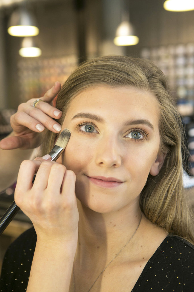 Next, highlight the face with Strobe Liquid in Golden Elixir ($31). Use it on your cheekbones, bridge of your nose, and a little on your chin to help create the illusion of healthy, glowing skin.