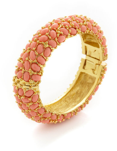 Coral Cabochon Bangle Bracelet