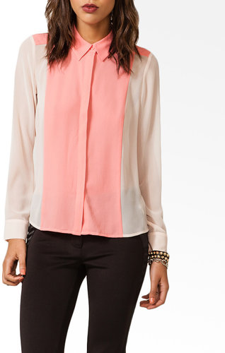 FOREVER 21 Colorblocked Button Up