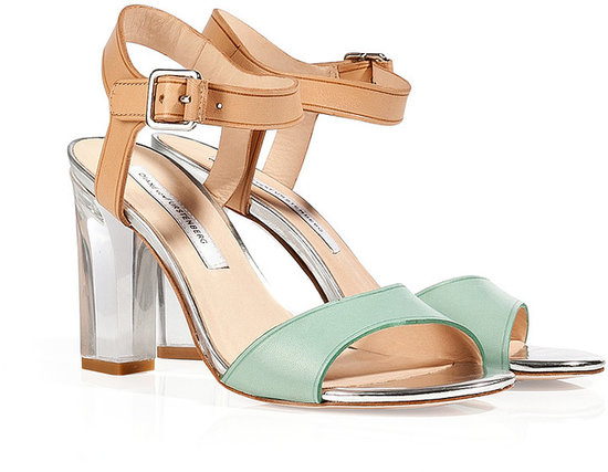 Diane von Furstenberg Jade/Natural/Silver Leather Sandals with Clear Heel