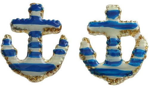 Betsey Johnson - Yacht Club Anchor Stud Earrings (Blue/White/Antique Gold) - Jewelry