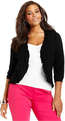INC International Concepts Plus Size Sweater, Three-Quarter-Sleeve Pleated Cardigan