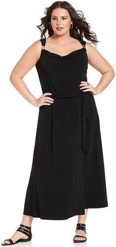 Calvin Klein Plus Size Dress, Sleeveless Belted Maxi