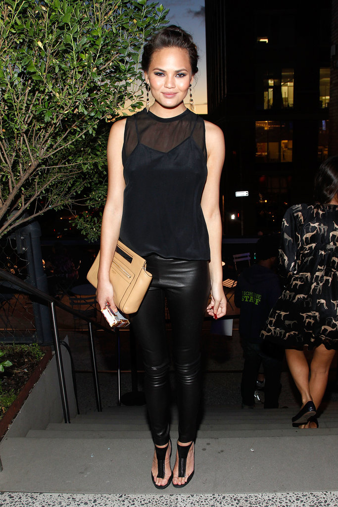 Chrissy Teigen wore an all-black ensemble.