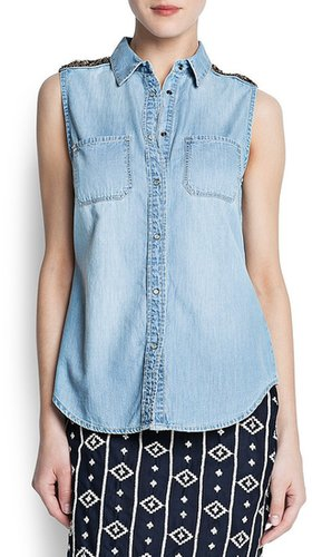 Embellished epaulette denim shirt