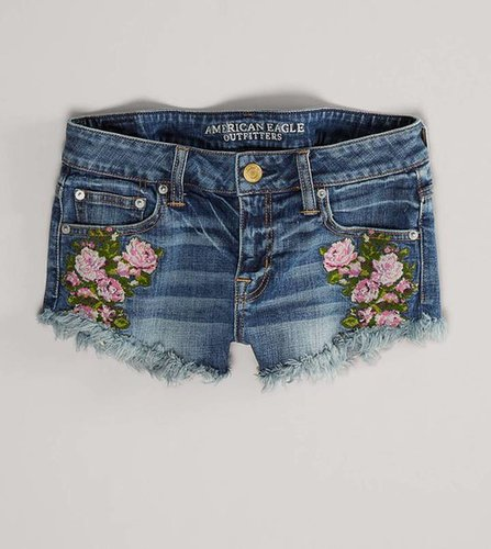 AE Needlepoint Floral Denim Shortie