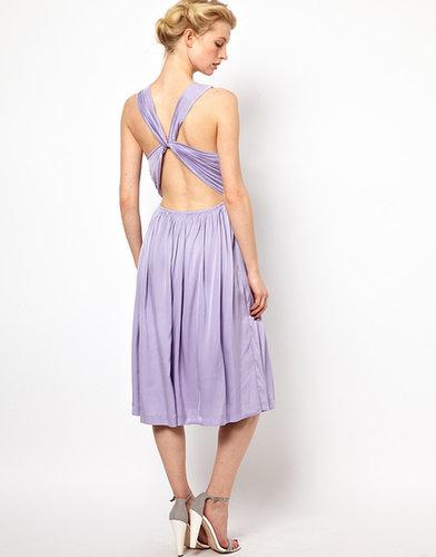 Kore by Sophia Kokosalaki Cross Back Pleat Dress With Lace Strap Detail