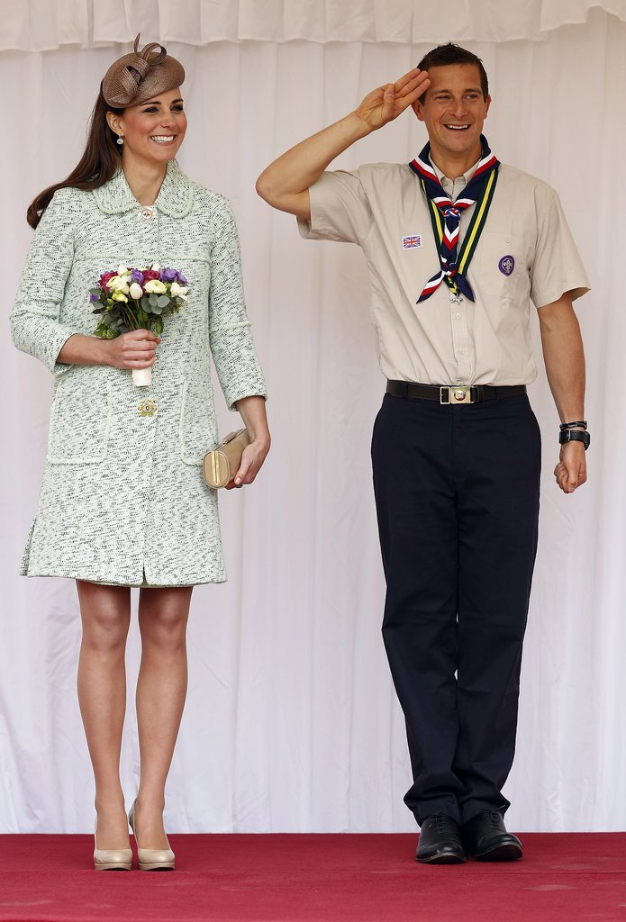 The duchess donned a mint Mulberry coat when she stood alongside Bear Grylls to review the Scouts at Windsor Castle on behalf of the queen on April 21, 2013.