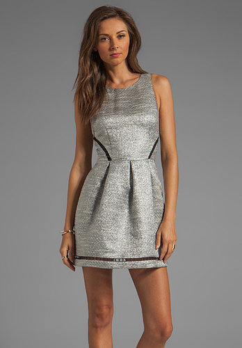 Finders Keepers Let's Get Back Dress in Metallic Grey/Black