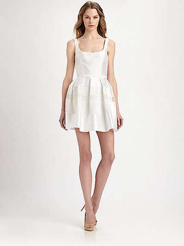 ABS Tonal Striped-Skirt Satin Dress