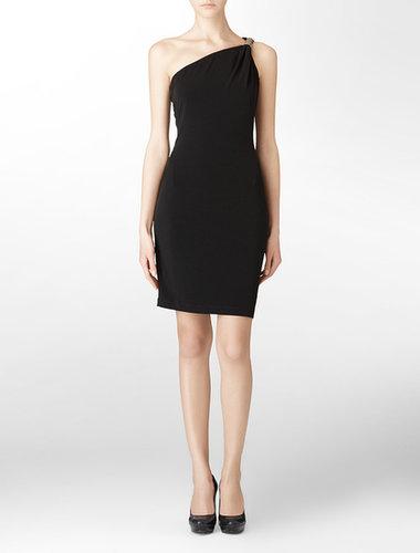 Black One Shoulder Draped Sleeveless Cocktail Dress