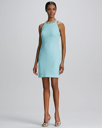 Badgley Mischka Beaded-Neck Cocktail Dress