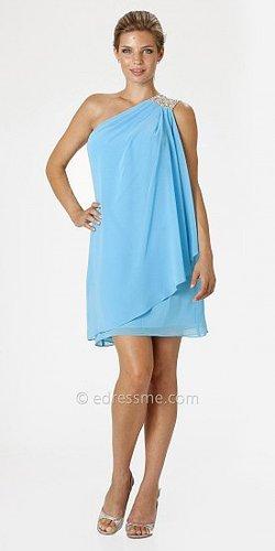 Blue Embellished One Shoulder Cocktail Dresses by JS Boutique