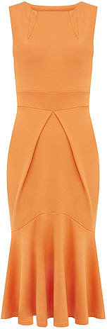 Orange fishtail pleat dress