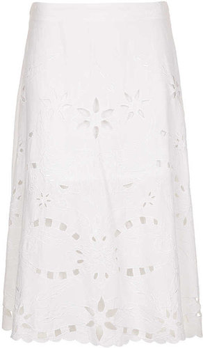 White Cut-Work Midi Skirt