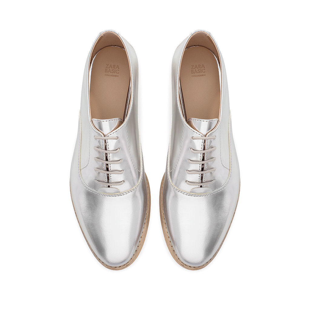 Mirrored metallics in an oxford silhouette offer up an easier way to wear the flashy trend, and the Zara patent oxford ($90) is an affordable option to boot.