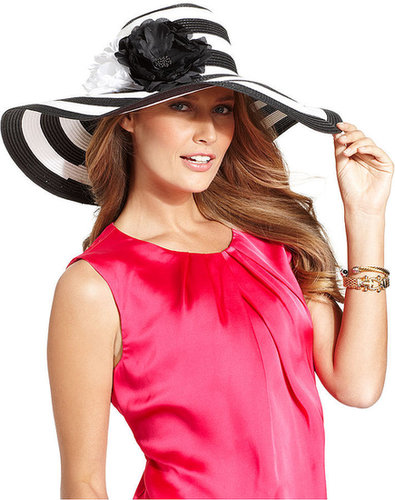 Nine West Hat, Black & White Super Floppy