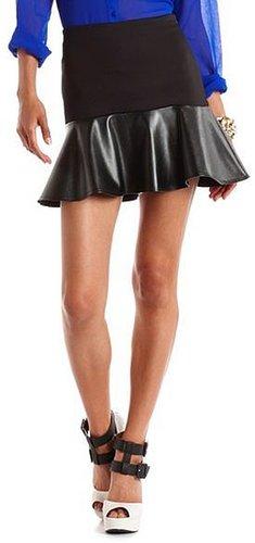 Pleather Drop Ruffle Skirt