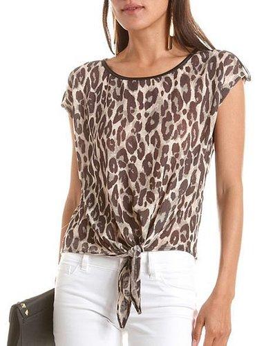 PU Trim Leopard Tie-Front Top