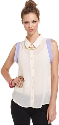Bar III Top, Sleeveless Colorblocked Chiffon Blouse