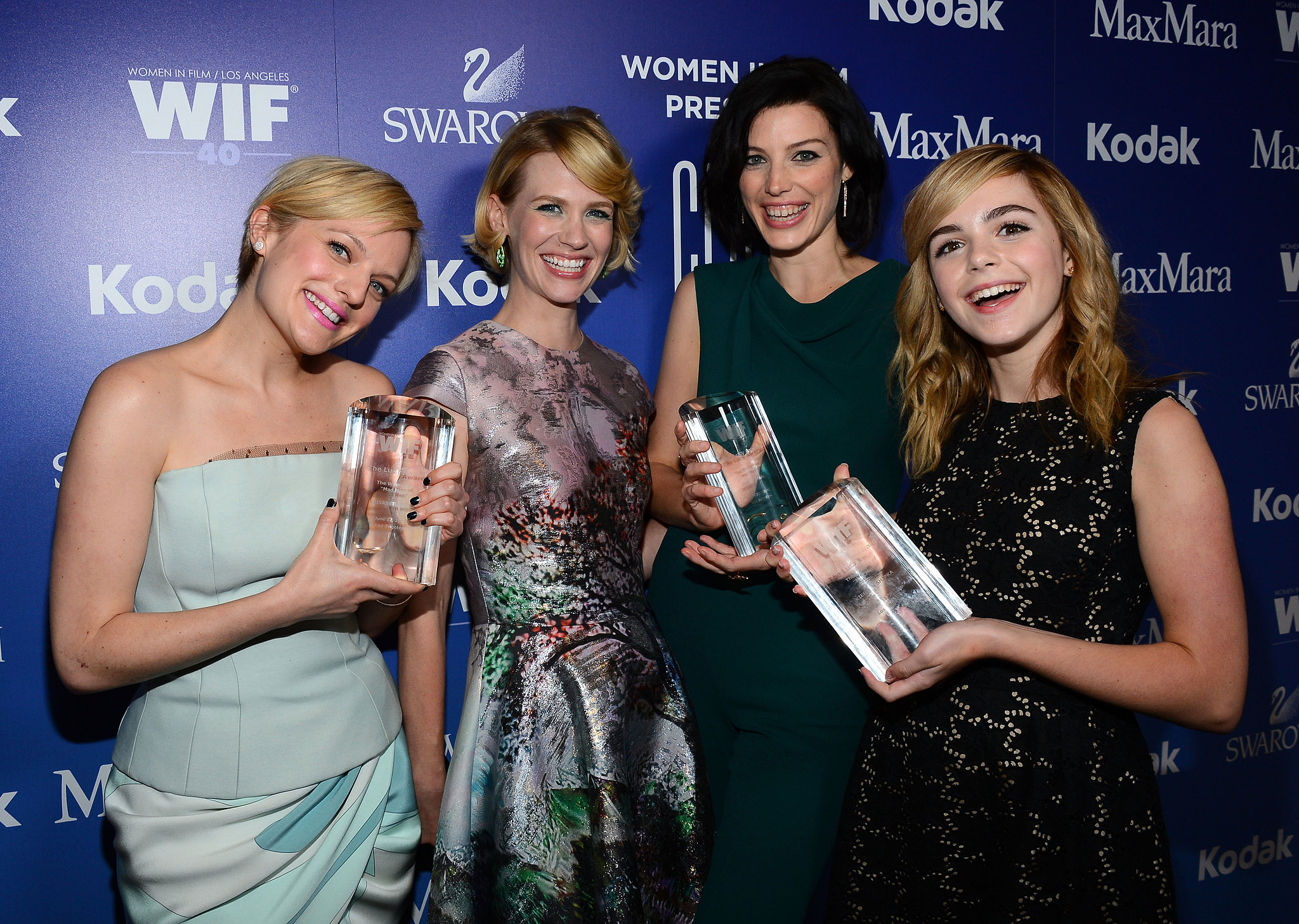 The women of Mad Men posed with their awards.