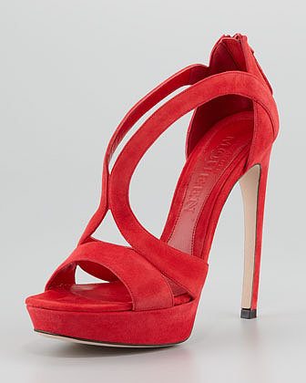 Alexander McQueen Double-Arched Suede Sandal, Red