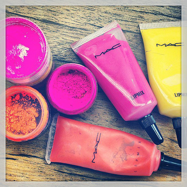 Loving those brights! Poppy Delevingne gave us a little glimpse into her Mac Cosmetics collection. Source: Instagram user poppydelevingne