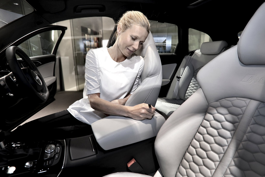 Gwyneth Paltrow signed the interior of an Audi RS 6 Avant in London on June 11 — the car will be auctioned at Elton John's upcoming White Tie & Tiara Charity Ball.