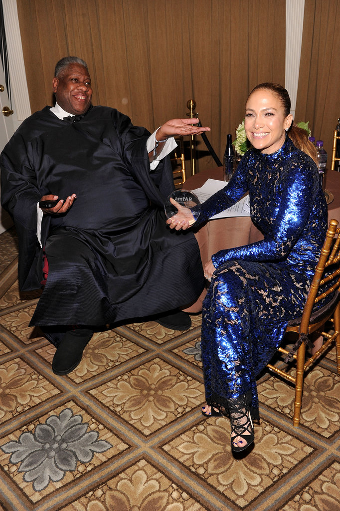 Andre Leon Talley caught up with guest of honour Jennifer Lopez at the amfAR Gala in New York on June 14.