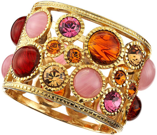 Kenneth Jay Lane Cabochon Golden Cuff