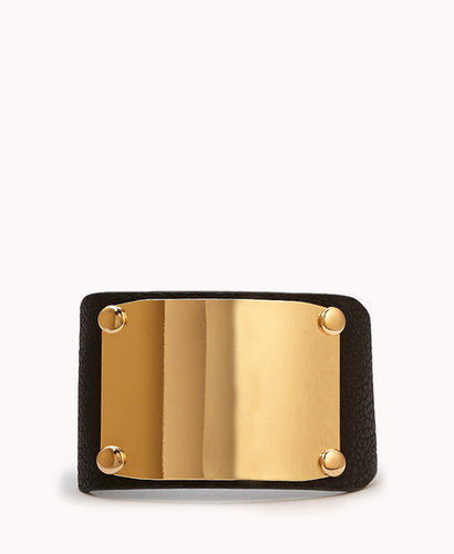 FOREVER 21 Plated Faux Leather Cuff