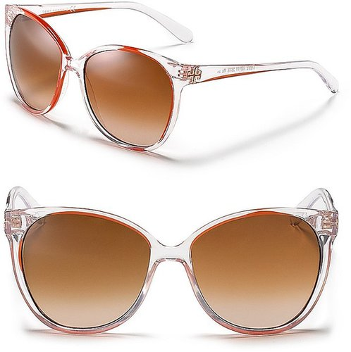Tory Burch Polarized Round Cat Eye Inset Sunglasses