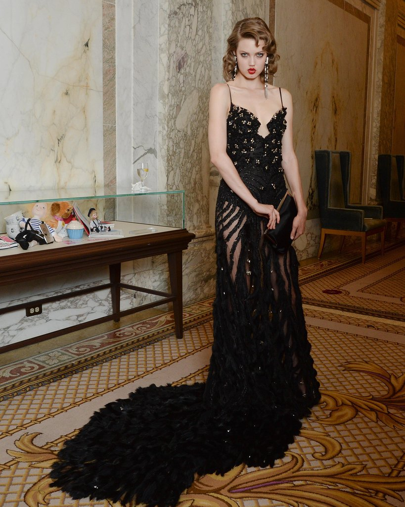 Lindsey Wixson showed off a sultry gown — and that famous pout. Source: Matteo Prandoni/BFAnyc.com