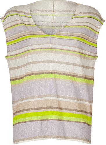 Majestic Neon Green-Multi Striped Linen T-Shirt