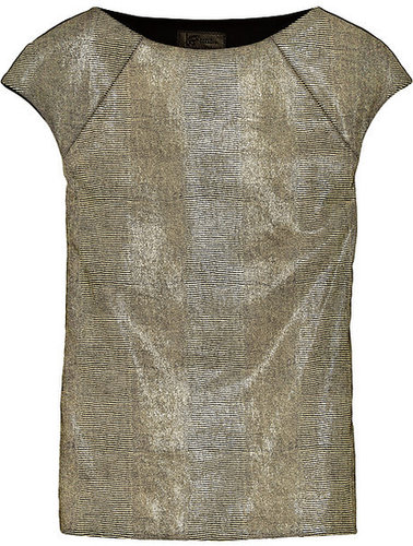 Zero+MariaCornejo Neka glossed snake-effect leather and stretch-twill top