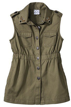 D-Signed Girls' Denim Vest - Green