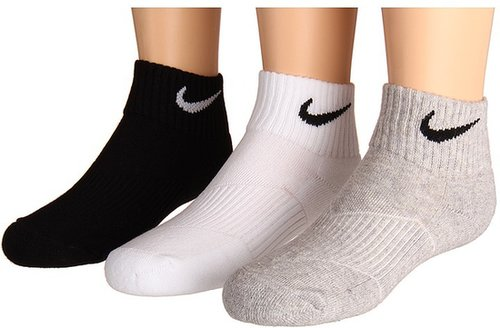 Nike Kids - Youth Cotton Cushion Quarter Length Socks w/ Moisture Management 3-Pair Pack (White/Grey Heather/Black) - Footwear