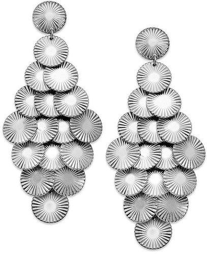 Macy's Sequin Earrings, Silver-Tone Paillettes Chandelier Earrings