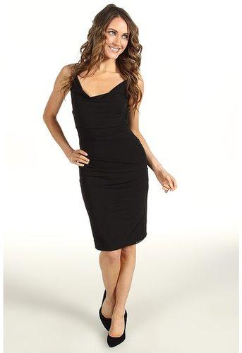 Nicole Miller - Cowl Neck Stretchy Matte Jersey Dress (Black) - Apparel