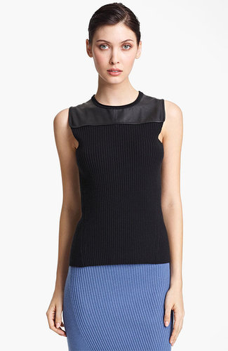 Reed Krakoff Leather Yoke Knit Top