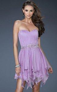 Beading Waist Lavender Strapless Short Prom Dress