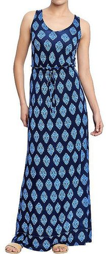 Women's Jersey-Drawstring Sleeveless Maxis