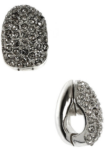 ANNE KLEIN Silver-tone Pave Crystal Clip-On Earrings