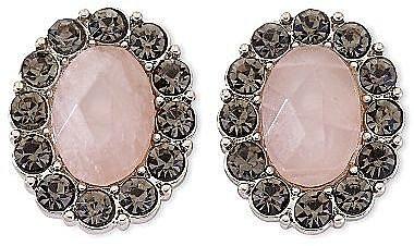 Monet® Rose Stone & Gray Crystal Clip-On Earrings