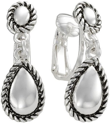 Trifari silver tone teardrop clip-on earrings
