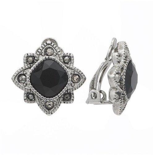Trifari silver tone textured clip-on button earrings