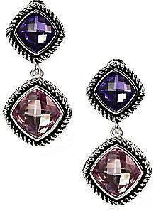 Napier® Silvertone Purple Multi Double Drop Clip Earrings