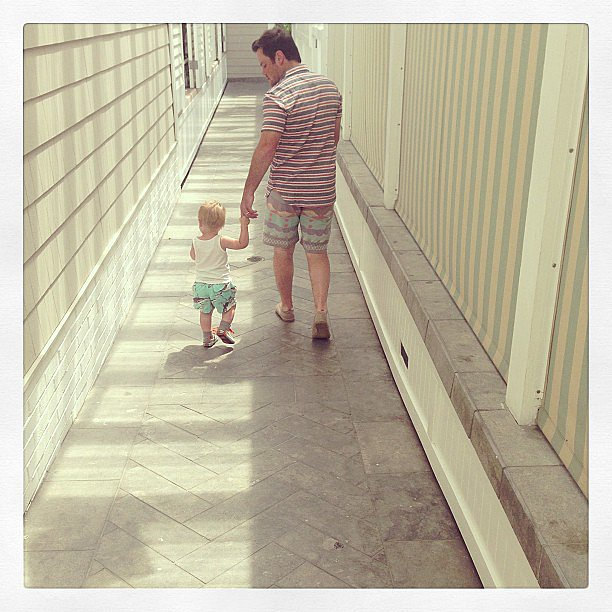 Hilary Duff snapped a photo of her husband, Mike Comrie, with their son, Luca. Source: Instagram user hilaryduff