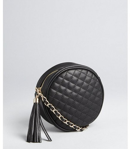 Wyatt black quilted leather circular crossbody bag