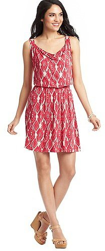 Petite Aztec Diamond Print Smocked Waist Dress